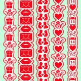 Set of seamless valentine day vertical borders. Tape stencil for wedding theme or love or birthday. Vector illustration royalty free illustration