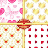 Set seamless valentine patterns. With hearts and butterflies Royalty Free Stock Photos
