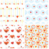 Set of seamless Valentines Day backgrounds with funny red heart characters, dialog bubbles and Cupid arrows. Tiled vector Royalty Free Stock Photography