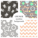 Set of seamless vector abstract grunge patterns, different backgrounds with stars, circle, lines, crancle Grungy texture with attr Stock Photo