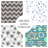 Set of seamless vector abstract grunge patterns, different backgrounds with stars, circle, lines, crancle, icons of playings cards vector illustration