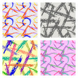 Set of seamless vector abstract patterns. Colorful backgrounds with hand drawn brushstrokes, geometrical figures. Graphic illustration Royalty Free Stock Photos