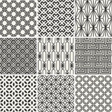 Set of seamless vector backgrounds - black and white. Collection of endless monochrome simple patterns Royalty Free Stock Photography