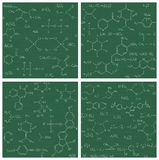 Set of seamless vector backgrounds with chemistry formulas and e Royalty Free Stock Photo