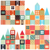 Set of seamless vector backgrounds with with houses Stock Photography