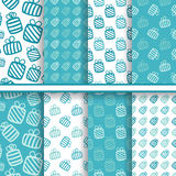 Set of seamless vector blue patterns with gifts Royalty Free Stock Photography