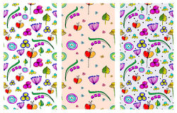 Set of seamless vector childlike floral patterns. Cute hand drawn endless backgrounds with childish flowers and leaves. Series of Stock Photos