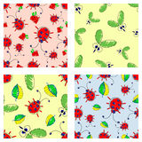 Set of seamless vector childlike patterns with insect. Cute hand drawn endless background with childish ladybugs, mosquito and lea Royalty Free Stock Photography