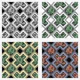 Set of seamless vector decorative hand drawn patterns. ethnic endless background with ornamental decorative elements with traditio. Nal etnic motives, tribal Royalty Free Stock Images
