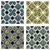 Set of seamless vector decorative hand drawn patterns. ethnic endless background with ornamental decorative elements with traditio. Nal etnic motives, tribal Stock Images