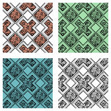 Set of seamless vector decorative hand drawn patterns. ethnic endless background. With ornamental decorative elements with traditional etnic motives, tribal Stock Photography