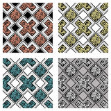 Set of seamless vector decorative hand drawn patterns. Ethnic endless background with ornamental decorative elements with traditional etnic motives, tribal Stock Photo