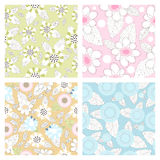 Set of Seamless vector floral pattern Royalty Free Stock Photos