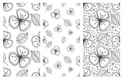 Set of seamless vector floral patterns. Black and white hand drawn background with flowers, leaves, decorative elements. Graphic i Royalty Free Stock Photos