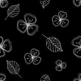 Set of seamless vector floral patterns. Black and white hand drawn background with flowers, leaves, decorative elements. Graphic i Stock Photo