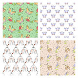 Set of seamless vector floral patterns with insect. Colorful backgrounds with decorative ladybugs,butterfly,flowers.Graphic vector illustration. Series of stock illustration