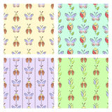 Set of seamless vector floral patterns with insect. Colorful backgrounds with decorative ladybugs,butterfly,flowers.Graphic vector illustration. Series of royalty free illustration