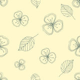 Set of seamless vector floral patterns. Yellow hand drawn background with flowers, leaves, decorative elements. Graphic illustrati Stock Photo