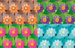 Set of seamless vector flowers patterns Stock Photos