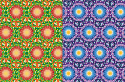 Set of seamless vector flowers patterns Royalty Free Stock Photo