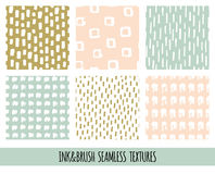 Set of seamless vector free hand doodle textures, dry brush ink art. Royalty Free Stock Photo
