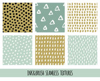 Set of seamless vector free hand doodle textures, dry brush ink art. Stock Image