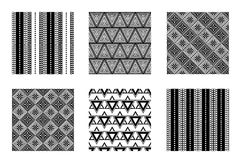 Set of seamless vector geometric black and white patterns with ornamental elements. Endless background with ethnic motifs. Graphic vector illustration. Series Royalty Free Stock Photography