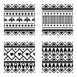 Set of seamless vector geometric black and white patterns with ornamental elements. Endless background with ethnic motifs. Graphic vector illustration. Series Stock Photography