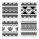 Set of seamless vector geometric black and white patterns with ornamental elements. Endless background with ethnic motifs. Graphic vector illustration. Series Stock Images