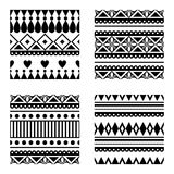 Set of seamless vector geometric black and white patterns with ornamental elements,. Endless background with ethnic motifs. Graphic vector illustration. Series Royalty Free Stock Photo