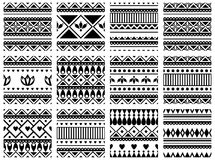 Set of seamless vector geometric black and white patterns with ornamental elements,endless background with ethnic motifs. Graphic. Vector illustration. Series Royalty Free Stock Photos