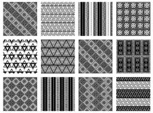 Set of seamless vector geometric black and white patterns with ornamental elements,endless background with ethnic motifs. Graphic. Vector illustration. Series Stock Images