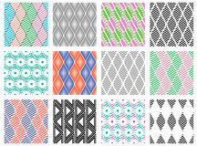 Set of seamless vector geometric colorful and black, white patterns with ornamental elements endless background with ethnic motifs. Graphic vector illustration Royalty Free Stock Photography
