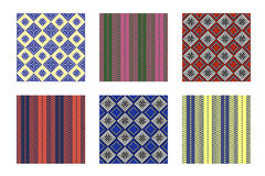 Set of seamless vector geometric colorful patterns with ornamental elements,endless background with ethnic motif Stock Image