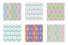Set of seamless vector geometric colorful patterns with ornamental elements,endless background with ethnic motifs Royalty Free Stock Photos