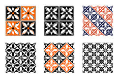 Set of seamless vector geometric colorful patterns with ornamental elements Royalty Free Stock Image