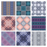 Set of seamless vector geometric colorful patterns with ornamental elements Stock Photo