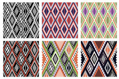 Set of seamless vector geometric colorful patterns with ornamental elements. Endless background with ethnic motifs. Graphic vector illustration. Series- sets of Royalty Free Stock Photo
