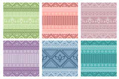 Set of seamless vector geometric colorful patterns with ornamental elements. Endless background with ethnic motifs. Graphic illustration. Series- sets of vector Royalty Free Stock Images