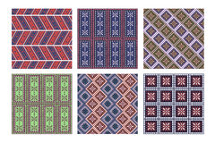 Set of seamless vector geometric patterns with ornamental elements Royalty Free Stock Images