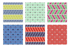 Set of seamless vector geometric patterns with ornamental elements Stock Photography