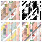 Set of seamless vector geometrical abstract patterns with lines, dots, diagonal stripes. Endless backgrounds with different hand d Royalty Free Stock Photos