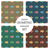 Set of seamless vector geometrical patterns with arrows. pastel endless background with hand drawn textured geometric figures. Gra Stock Images