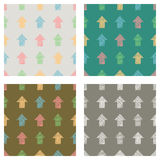 Set of seamless vector geometrical patterns with arrows. pastel endless background with hand drawn textured geometric figures Grap. Hic vector illustration Print Stock Photography