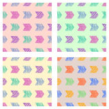Set of seamless vector geometrical patterns with arrows. pastel endless background with hand drawn textured geometric figures Grap Royalty Free Stock Images