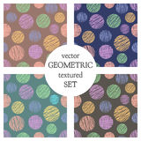 Set of seamless vector geometrical patterns with circles . pastel endless background with hand drawn textured geometric figures. G Stock Image