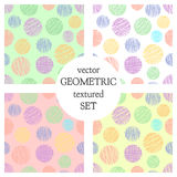 Set of seamless vector geometrical patterns with circles . pastel endless background with hand drawn textured geometric figures. G Royalty Free Stock Images