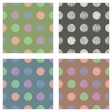 Set of seamless vector geometrical patterns with circles pastel endless background with hand drawn textured geometric figures Grap. Hic vector illustration Print Stock Photo