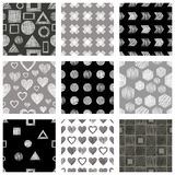 Set of seamless vector geometrical patterns with different geometric figures, forms, grey, black white. Pastel endless background. With hand drawn textured vector illustration