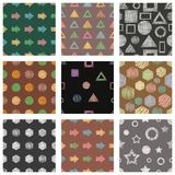 Set of seamless vector geometrical patterns with different geometric figures, forms. pastel endless background with hand drawn tex. Tured geometric figures Stock Photography
